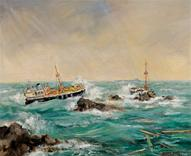 Prosperity Wreck & Elwood Mead, oil painting by Margaret Broad