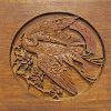 Japanese carved wooden panel, showing a sacred stork